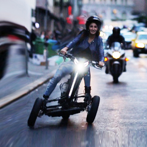 Sway? No way! Yes, a tilting three wheel electric motorcycle