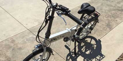 Enzo Ebikes Folding Electric Bike Front View Modular Cables