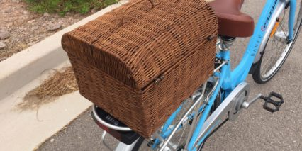 Eprodigy Banff Wicker Bicycle Basket Rack Battery Below