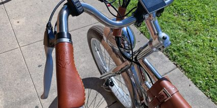 California Bicycle Factory Retro R Stitched Leather Grips Display Controls