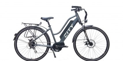 Electric Bike Technologies Electric City Bike Stock High Step Gray