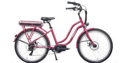 Electric Bike Technologies Electric Cruiser Bike Stock Step Through Red