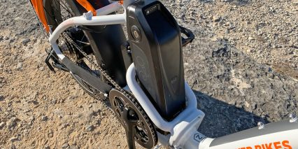 Rad Power Bikes Radmini Step Thru 2 Battery Pack Mounted To Frame Protected By Tubing
