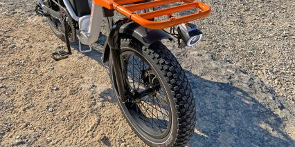 Rad Power Bikes Radmini Step Thru 2 Optional Orange Front Rack With Light Repositioned