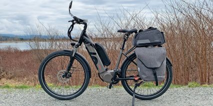 Dost Drop Black Left Side With Panniers Trunk Bag Extra Battery Pack And Mirror