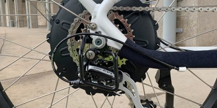 Rad Power Bikes Radcity Step Thru 3 Shimano Acera Derailleur Steel Guard Protects Cable