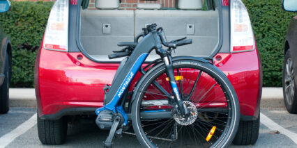 Montague M E1 Stock Folding Ebike Behind Trunk Of Toyota Prius Size Comparison